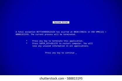 Blue Screen of Death (BSOD). System Crash Report Background. Vector Illustration.