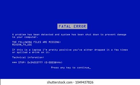 Blue Screen Of Death Vector. Interrupt Request Level. Software, Hardware Crash. Illustration
