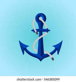 Blue sea anchor on the blue background with white rope, flat design river