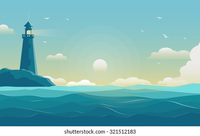 blue sea background with waves and lighthouse. Vector Illustration