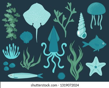 Blue sea life collection  - vector illustration