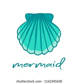 Blue sea shell and mermaid writing. Hand drawn illustration vector.