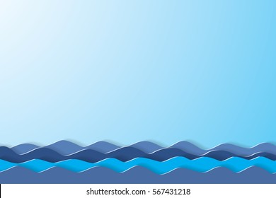 Blue sea and blue sky background. paper art style.