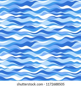 Blue sea wave seamless pattern. Abstract modern colorful endless background. Vector illustration.