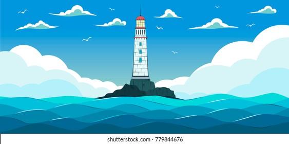 Blue sea with waves and lighthouse on island. Marine nature landscape, wildlife background, sea navigation vector illustration
