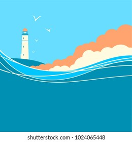 Blue sea waves with lighthouse.Vector nature poster for text