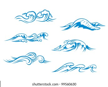 Blue sea waves set for design in cartoon style, such as emblem or logo template. Jpeg version also available in gallery