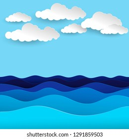 Blue sea waves. White, air clouds. Paper art style of cover design.  Paper cut out style vector illustration.
