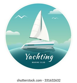 Blue sea  with yachts and lighthouse. Sea cruise on a yacht. Yachting. Yacht Club. Vector Illustration