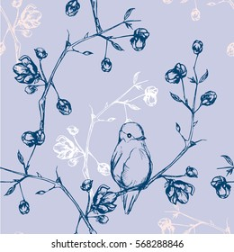 Blue seamless background. Floral background with blue birds on branches. Vintage seamless pattern with flowers and birds on branches