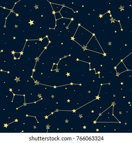 Blue seamless background with yellow constellations. Star pattern and signs of the zodiac.