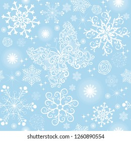 Blue seamless christmas pattern with white snowflakes and butterflies, vector eps 8
