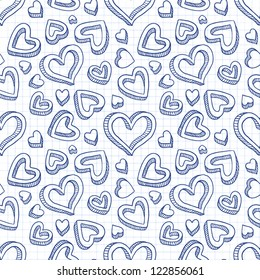 Blue seamless doodle cartoon backdrop with hand drawn hearts on lined paper