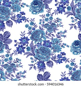 Blue seamless embroidered floral pattern. Vector rose bouquets, cobalt and indigo tones on white background.