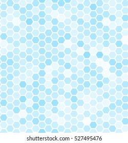 Blue seamless hexagonal pattern. Abstract vector background. Festive wallpaper. Beautiful colorful  snowfall.