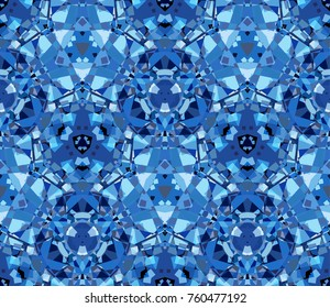 Blue seamless pattern, background. Composed of abstract shapes. Useful as design element for texture and artistic compositions.