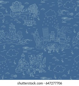 Blue seamless pattern with cartoon island town. Hand drawn ornaments. Decorative sketch of cartoon city.
