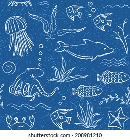 Blue seamless pattern with crayon sea animals