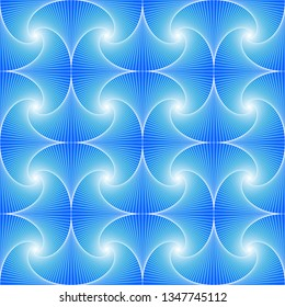 Blue seamless pattern created of whirls and squares.