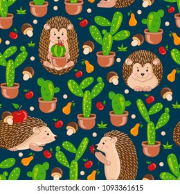 Blue seamless pattern with cute cartoon hedgehogs, apple, pears, mushrooms, cacti, cactus. Vector hedgehog tile background for your design, fabric textile, wallpaper or wrapping paper.