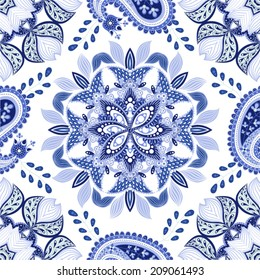 Blue seamless pattern. Design for dutch tile, background, textile