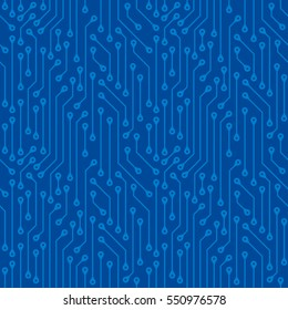 Blue seamless pattern of electronic boards. Abstract wallpaper background of digital components.