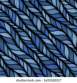 Blue seamless pattern with interweaving of braids. Abstract ornamental background in form of a knitted fabric. Stylized textured yarn or hairstyle close-up
