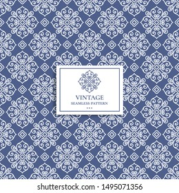 Blue seamless pattern with linear ornament. Vintage, paisley elements. Ornament. Traditional, Ethnic, Turkish, Indian motifs. Great for fabric and textile, wallpaper, packaging or any desired idea.