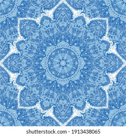 Blue seamless pattern with mandala ornament. Traditional Arabic, Indian motifs. Great for fabric and textile, wallpaper, packaging or any desired idea.