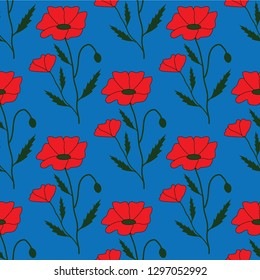 Blue seamless pattern with red poppies and green leaves