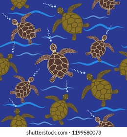 Blue seamless pattern with sea turtles in brown