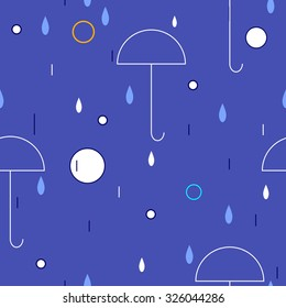 blue seamless pattern with umbrellas and drops