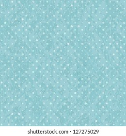 Blue Seamless Polka Dot Old Scratch Pattern. Retro Styled Vector Background
