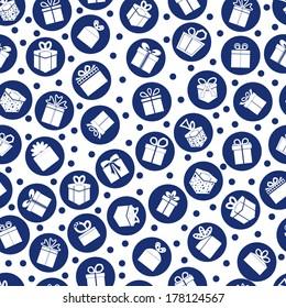 Blue seamless present pattern. Vector background.
