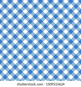 Blue seamless table cloth texture. Diagonal lines. Vector illustration.