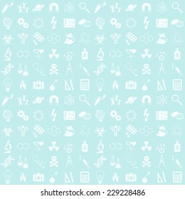Blue seamless vector pattern with various science icons