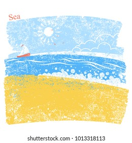 blue seascape with beach and sky. Vector illustration background of sea landscape for text