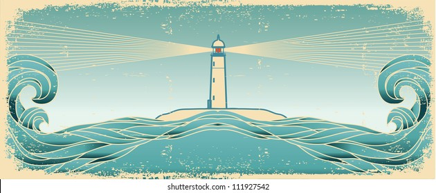 Blue seascape horizon. Vector vintage image with lighthouse on old paper texture