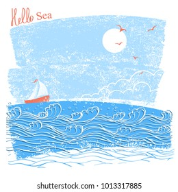 blue seascaper with sailing ship and sun.Vector illustration of sea landscape for text