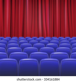 Blue seats in hall with curtain, vector illustration for your design