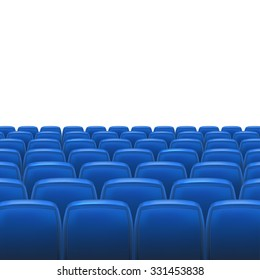 Blue seats with white blank screen and space for your text