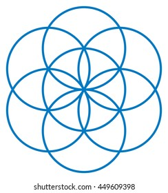 Blue Seed of Life. Unique geometrical figure, composed of seven overlapping circles of same size, forming the symmetrical structure of an hexagon. Flower of Life prestage. Illustration