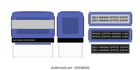 Blue Self-inking office Stamp. vector