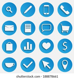 Blue SEO Business Vector Icons Set with Magnifier, Pen, Mobile Phone, Handset, Mail, Document, Speech Bubble, Trolley Basket, Package, Compare Graph, Heart, Dollar Symbol, Tea Cup, Arro, Pin Marker
