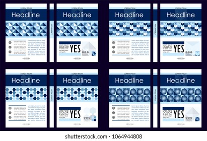 Blue set of  A4 Business Book Cover Design Templates. Good for Portfolio, Brochure, Annual Report, Flyer, Magazine, Academic Journal, Website, Poster, Monograph, Corporate Presentation, Vector.