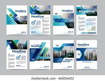 Blue Set Brochure Layout design template. Annual Report Flyer Leaflet cover Presentation Modern background. illustration vector in A4 size