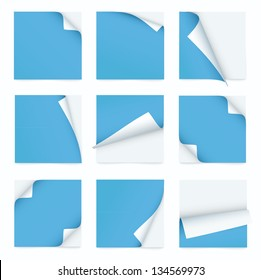 blue set of note paper with curled corner