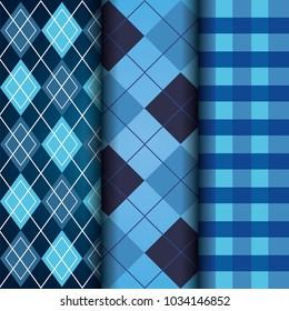 blue set of tartan checkered and argyle texture decoration pattern