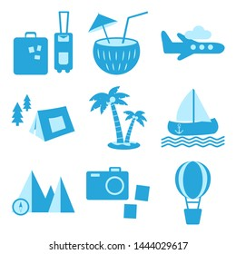 Blue set of travel, recreation and vacation icons. Tourism types. Vector illustration