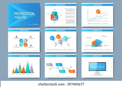 Blue set of vector templates for multipurpose presentation slides. Modern business flat design with graphs and chart. Leaflet marketing advertising.